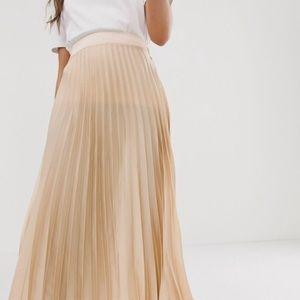 Beige Satin Pleated Skirt
